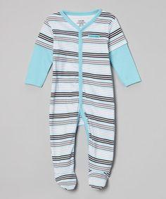 Look at this #zulilyfind! Light Blue & Gray Stripe Playsuit - Infant by Calvin Klein Underwear #zulilyfinds