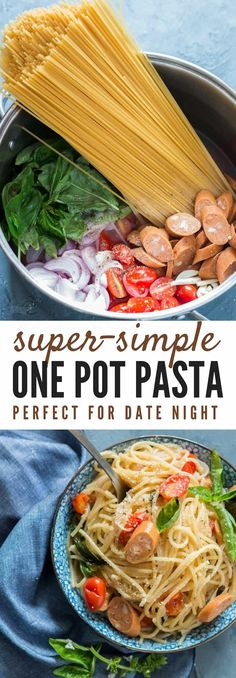 one pot pasta is life saver weeknight dinner. Everything, even the pasta gets co… one pot pasta is life saver weeknight dinner. Everything, even the pasta gets cooked in the same pot Easy One Pot Pasta Recipe, Easy Pasta Recipes, Soup Recipes, Vegetarian Recipes, Easy Meals, Healthy Recipes, Recipes Dinner, Potato Recipes, Casserole Recipes