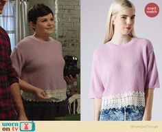 Mary's purple sweater with white lace trim on Once Upon a Time.  Outfit Details: http://wornontv.net/38625/ #OUAT