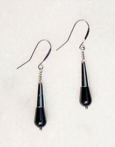 Sterling Silver & Hematite Earrings. Handmade Sterling and Hematite Earrings. teardrop hematite earrings silver bead cap earrings hematite (19.00 USD) by KarmaKittyJewelry