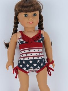 Red White & Blue Bathing Suite & Cover Fits American Girl Dolls