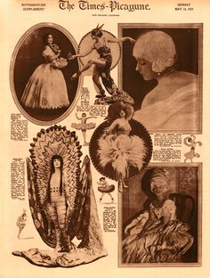 A 1923 rotogravure fashion section featuring outlandish costumes.