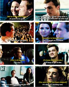 """Peeta - Catching Fire (movie quotes, times when Josh Hutcherson did his best acting) """"It's okay. It's working now"""" love it"""