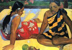 O que há de novo? 1892.  Artista: Paul Gauguin. Galeria Neue Meister, Dresden, Alemanha.