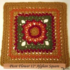 """Picot Flower 12"""" Afghan Square - free crochet pattern at Crochet N Crafts. Also available in Dutch."""