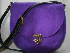 Harris Tweed Saddle Bag in Purple Harris Tweed by Ten10Creations
