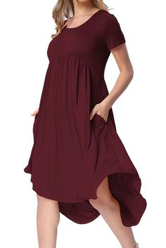 7693b66d Hot Sale Rufous Short Sleeve High Low Pleated Casual Swing Dress – POPHERS  #casualdresses #