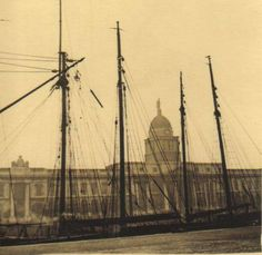 The Dublin Docks,with the Custom House.in the background. Dublin, Sailing Ships, Ireland, Boat, Places, House, Vintage, Dinghy, Home