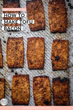 Learn how to make crispy, smoky, chewy, delicious vegan bacon with tofu! This is one of my favorite recipes - it's perfect for using in BLT's, salads, breakfast hash, bowls, or anything else you'd use vegan bacon in. Click through to see how we make vegan bacon and bacon bits! Vegan Brunch Recipes, Tofu Recipes, Bacon Recipes, My Favorite Food, Favorite Recipes, Homemade Tofu, Breakfast Hash, Low Sodium Soy Sauce, Food Inspiration