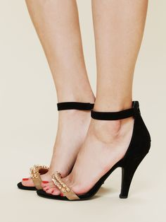 Jeffrey Campbell Burke City Heel at Free People - Black Suede / Rose Gold 8 $148.00