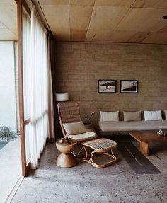 bamboo lounge chair and terrazzo floors. / sfgirlbybay