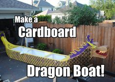 Make a Cardboard Dragon Boat!: 7 Steps (with Pictures) Wooden Boat Kits, Wooden Boat Building, Wooden Boats, Cardboard Boat Race, Cardboard Crafts, Cardboard Boxes, Make A Boat, Build Your Own Boat, How To Build Abs
