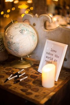 Globe guest book. Love this idea! We even have a big old globe already that would be perfect for this... Hmm...