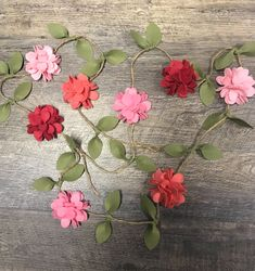 Spring Garland - Felt Flower Garland - Pink and Coral Felt Flower Garland Wedding, Flower Garlands, Felt Garland, Diy Garland, Meaningful Gifts, Felt Flowers, Coral Pink, Wedding Decorations, Floral Wreath