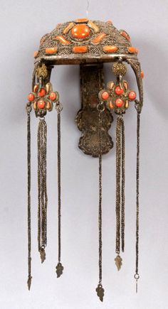 Mongolia | Woman's headdress ~ tolgoj poolt ~ silver, brass, coral and agate | ca. late 19th to early 20th century | ©Asia and Pacific Museum in Warsaw