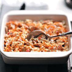 Light-But-Hearty Tuna Casserole Recipe from Taste of Home -- shared by Heidi Carofano of Brooklyn, New York Tuna Recipes) Tuna Casserole Recipes, Tuna Recipes, Casserole Dishes, Seafood Recipes, New Recipes, Dinner Recipes, Cooking Recipes, Healthy Recipes, Healthy Tuna