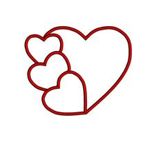 PLEASE NOTE: This is not iron on or patch.It is digital machine embroidery design. In order to use it you have to have an embroidery machine and know how to transfer the design to the machine. Versatile Hearts applique design in multiple sizes. Will look great on shirts, towels, beach bags