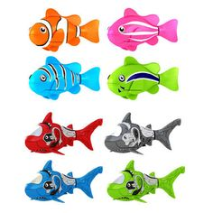 Swimming Robot Fish Activated in Water Electric Turbot Clownfish Battery Powered Robo Fish Toy Children Kids Robotic Gift Light Transparent Electric Fish 4 Pcs