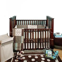 "Stefani's baby bedding, Mad About Plaid Blue 4 Piece Crib Bedding Set - My Baby Sam - Babies ""R"" Us"