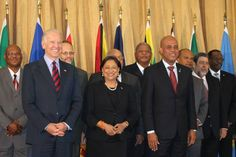 Haiti's Martelly in Trinidad during one of those meetings of chiefs of state (May 2013)
