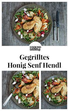 Gegrilltes Honig Senf Hendl auf buntem Salat. gegrilltes Hühnerfilet, Honig Senf Marinade  grilled chicken with honey mustard marinade, honey mustard chicken, bbq chicken recipe, delicious bbq chicken. healthy chicken recipe