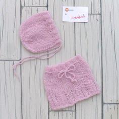 Handmade Newborn photo Props skirt bonnet Wool di RobertaCreations