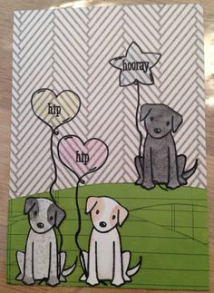 Card with dogs from Avery Elle's Furry Friends and balloons from Ellie.