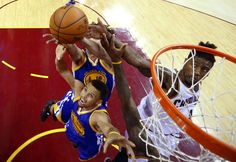 Jun 10, 2016; Cleveland, OH, USA; Golden State Warriors guard Stephen Curry (30) goes for a rebound against Cleveland Cavaliers guard J.R. Smith (5) in game four of the NBA Finals at Quicken Loans Arena. Mandatory Credit: Ronald Martinez/Pool Photo via USA TODAY Sports