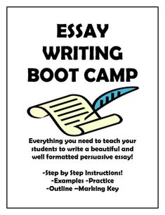 Essay Writing Boot Camp!  Everything you need to get your students writing beautiful and well formatted persuasive essays!    Step by step instructions, examples, practice, outline, and marking key!