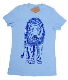 Womens T-Shirt - Lion avec une moustache T Shirt - sérigraphie - T-shirt animaux - Graphic Tees pour les femmes - femmes Lion Tee S M L XL