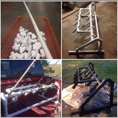 Pvc rod holder for a truck bed. Pvc rod holder for a truck bed. Fishing Pole Rack, Kayak Storage Rack, Fishing Rod Storage, Fishing Tools, Gone Fishing, Kayak Fishing, Fishing Cart, Fishing Stuff, Pvc Rod Holder