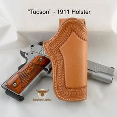 """1911 Holster featuring the """"Tucson"""" design. 1911 Holster, Gun Holster, Smith And Wesson 1911, Ruger 1911, Cross Draw Holster, Custom Leather Holsters, Western Holsters, Custom Guns, Feather Design"""