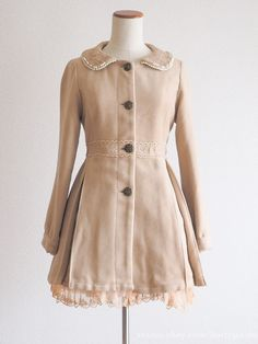 axes femme Rose Button Beaded Laced Collar Coat Classic Lolita SizeM Japan #axesfemme #BasicCoat #ClassicLolita