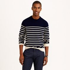 You don't need an outing on a boat to look good in nautical stripes. A stripe cotton sweater keeps you warm without overheating—perfect for transitional weather and to take along for cool evenings, and yes, even trips on a boat. <ul><li>Cotton.</li><li>Machine wash.</li><li>Import.</li></ul>