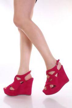 $30 Fuchsia Faux Suede Cross Strappy Peep Toe Platform Wedges