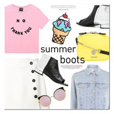 """""""Walk This Way: Summer Booties"""" by monica-dick ❤ liked on Polyvore featuring Misha Nonoo, Versus, Maison Margiela, Fendi, Topshop, polyvoreeditorial and summerbooties"""