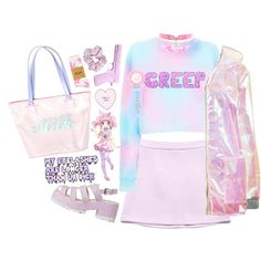 Hard kawaii by lavender-milk on Polyvore featuring The Ragged Priest, Forever 21, American Apparel, L'ÉCLAIREUR, HUF, KOKOKim, women's clothing, women's fashion, women and female