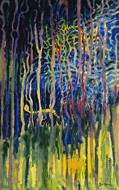 "Worm Burning Bright in the Forest in the Night - 36"" x 24"" - Mixed Media Pigment - 2013"