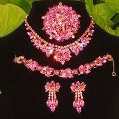 Vintage Juliana D&E Pink Rhinestone Necklace Bracelet Brooch Earrings Book Set  $725.00