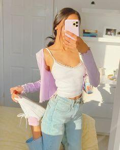 Fashion Tips Outfits .Fashion Tips Outfits Indie Outfits, Teen Fashion Outfits, Girly Outfits, Retro Outfits, Cute Casual Outfits, Cute Vintage Outfits, Casual School Outfits, Purple Cardigan Outfits, Stylish Outfits