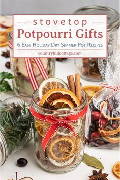 See how to make a DIY stovetop potpourri gift! These simmer potpourris make your house smell like Christmas and dry potpourri recipes are wonderful homemade holiday gift ideas. The tutorial for Christmas potpourri in a jar comes with. Diy Holiday Gifts, Homemade Christmas Gifts, Homemade Gifts, Christmas Recipes, Holiday Fun, Christmas Ideas, Stove Top Potpourri, Simmering Potpourri, Homemade Potpourri