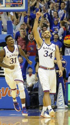 Kansas Basketball triple overtime Win over OU 109-106, Traylor and Perry smiling big. 1/4/16
