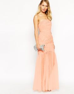 69a8f0dc80 Image 4 of Jarlo Felicity Bandeau Maxi Dress With Ruched Bodice And Tulle  Skirt Ultimate dress