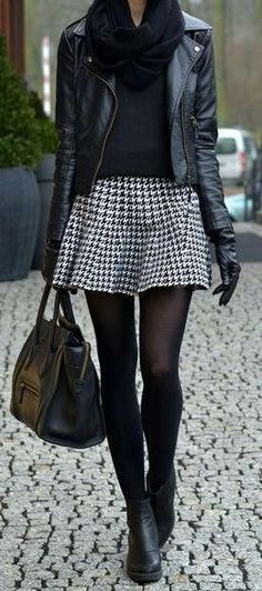 Would swap houndstooth skirt for red plaid/tartan to add a splash of colour