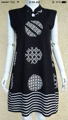 Pola Blouse Batik, Batik Dress, Simple Dresses, Pretty Dresses, Batik Kebaya, Batik Fashion, Tunic Designs, Fashion And Beauty Tips, Vestidos Vintage