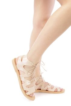 Nude Lace Up Tie Jelly Gladiator Sandals PVC