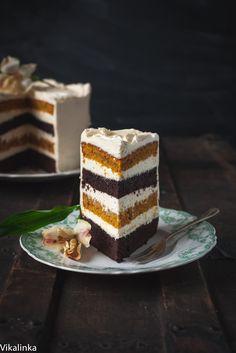 Gâteau potiron-chocolat, glaçage mascarpone - sirop d'érable - cannelle