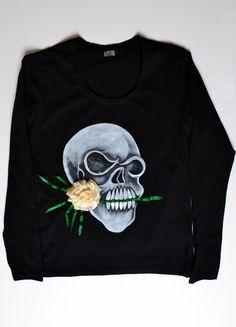 T-shirt met handgeschilderd schedel en borduren maat L met lange mouwen voor vrouw