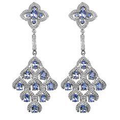 Sterling Silver Tanzanite White Topaz Chandelier Earrings - Overstock™ Shopping - Top Rated Gemstone Earrings