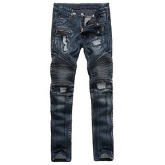 fed827200f8181 Ribbed Insert Straight Leg Zippered Ripped Jeans - Deep Blue 36